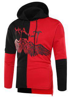 Hooded Color Block Wings Graphic Print Side Slit Hoodie - Black Red Xl