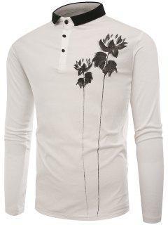 Polo Collar Buttons Lotus Print T-shirt - White L