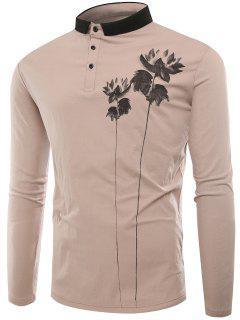 Polo Collar Buttons Lotus Print T-shirt - Apricot Xl
