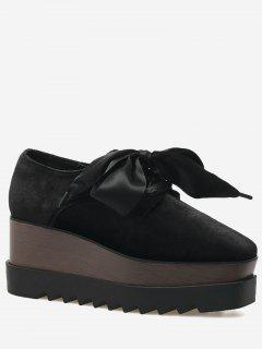 Square Toe Lace Up Wedge Shoes - Black 37