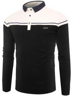 Polo Collar Buttons Color Block Applique T-shirt - Black L