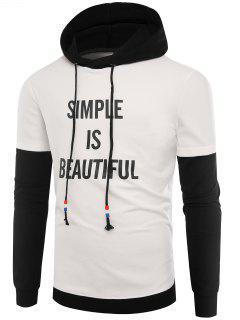Hooded Color Block Slogan Print Hoodie - White Xl