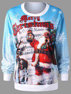Christmas Pullover Graphic Print Sweatshirt - M