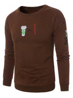 Crew Neck Coffee Graphic Embroidered Fleece Sweatshirt - Brown L