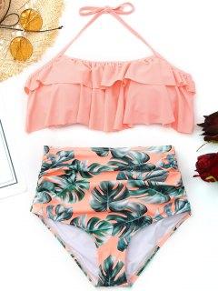 Ruffled Palm Leaf High Waisted Bikini - Pink Xl