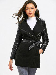 Faux Leather Panel Zippered Belted Coat - Black M