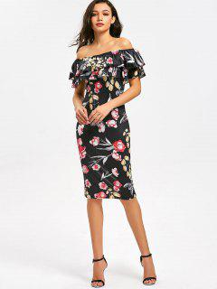 Off Shoulder Tiered Flounce Flower Sheath Dress - Floral S