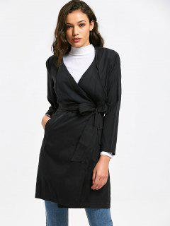 Draped Belted Trench Coat With Pockets - Black S