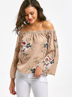Schulterfreie Bluse Mit Flare Ärmel Und Blumendruck  - Pinkbeige S