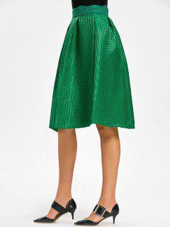 High Waist Scalloped Flare Skirt - Green L