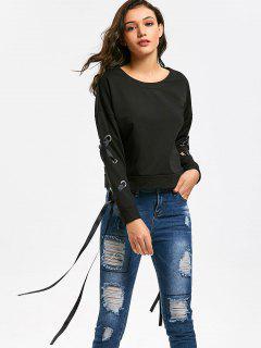 Drop Shoulder Lace Up Sleeve Plain Sweatshirt - Black S