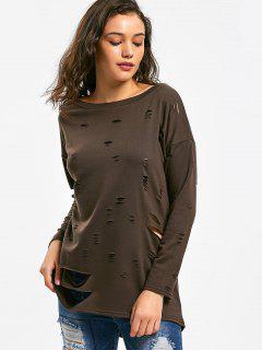 Drop Shoulder Ripped Longline Sweatshirt - Coffee M