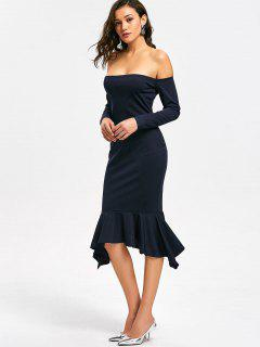 Off The Shoulder Plain Mermaid Dress - Purplish Blue M