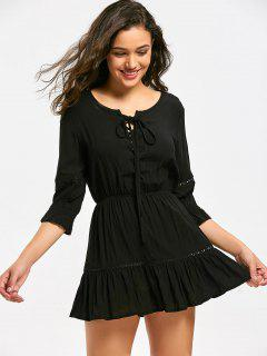 Lace Up Hollow Out Mini Flare Dress - Black S