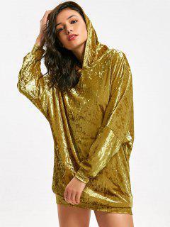 Front Pocket Dolman Sleeve Velvet Longline Hoodie - Ginger