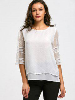 Semi Sheer Hollow Out Embellished Blouse - White M
