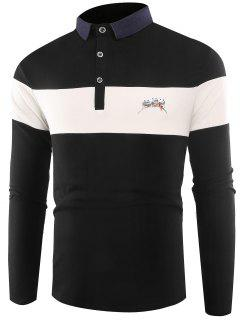 Polo Collar Buttons Color Block Embroidered T-shirt - Black 3xl