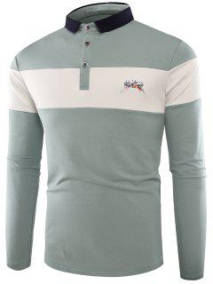 Polo Collar Buttons Color Block Embroidered T-shirt - Light Blue Xl