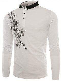 Polo Collar Buttons Florals Print T-shirt - White L