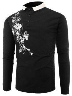 Polo Collar Buttons Florals Print T-shirt - Black L