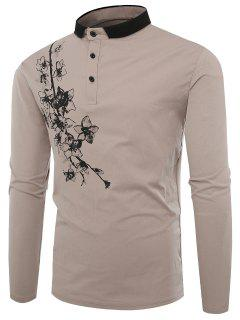 Polo Collar Buttons Florals Print T-shirt - Apricot L
