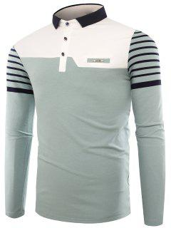 Polo Collar Buttons Color Block Stripe T-shirt - Light Blue L