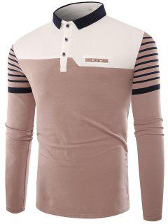 Polo Collar Buttons Color Block Stripe T-shirt - Apricot L