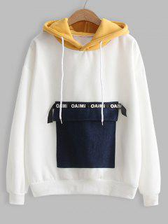 Contrasting Letter Patches Hoodie - White