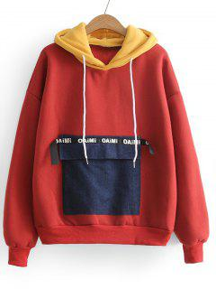 Contrasting Letter Patches Hoodie - Red