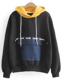 Contrasting Letter Patches Hoodie - Black