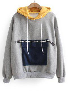 Contrasting Letter Patches Hoodie - Gray
