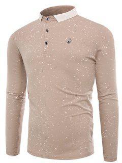 Polo Collar Splatter Paint Buttons T-shirt - Apricot 3xl