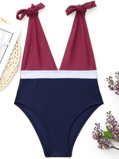 Plunging Neck Color Block Tied Swimwear - Burgundy M