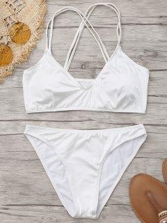 Glänzendes Criss Cross Bikini Set - Weiß S