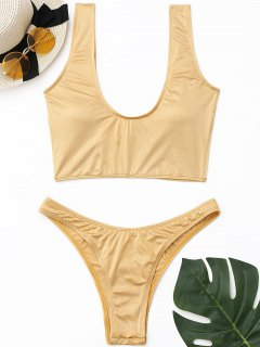 Padded Shiny High Cut Bikini Set - Golden S