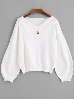 Lantern Sleeve Embroidered V Neck Sweater - White