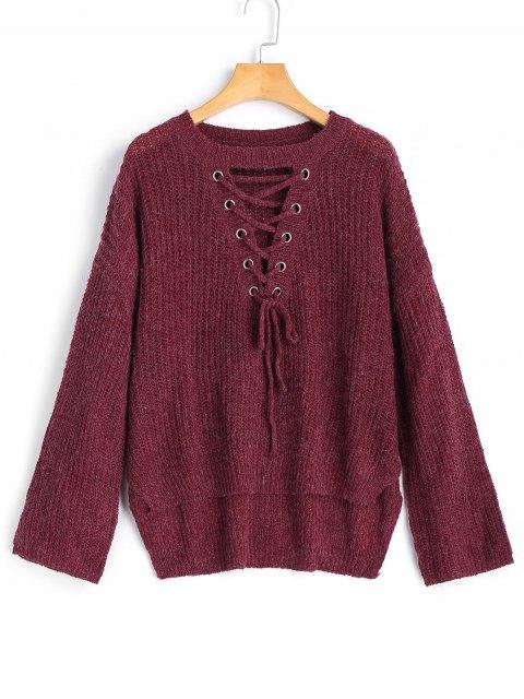 Suéter con cordones de alta calidad - Rojo purpúreo Talla única Mobile