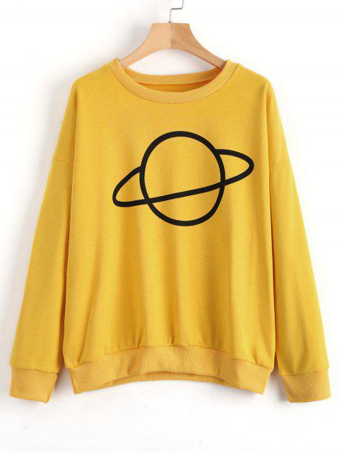 Drop Schulter Planet Muster Sweatshirt - Ingwer-Gelb M Mobile