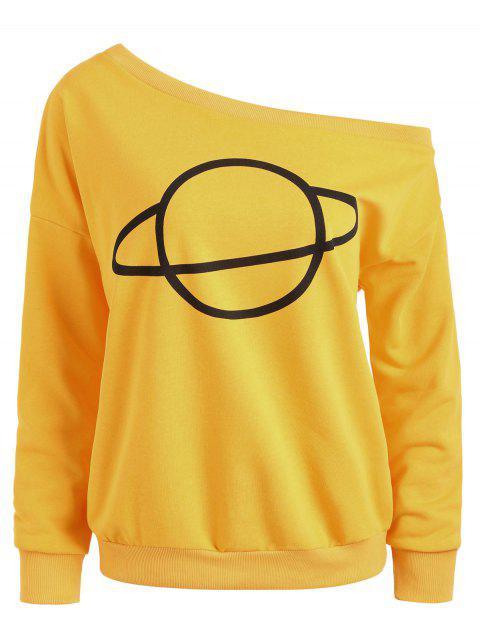 Planet Eine Schulter Sweatshirt - Ingwer-Gelb M Mobile