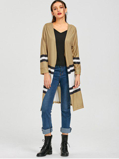 latest Color Block Open Front Knit Cardigan - KHAKI L Mobile
