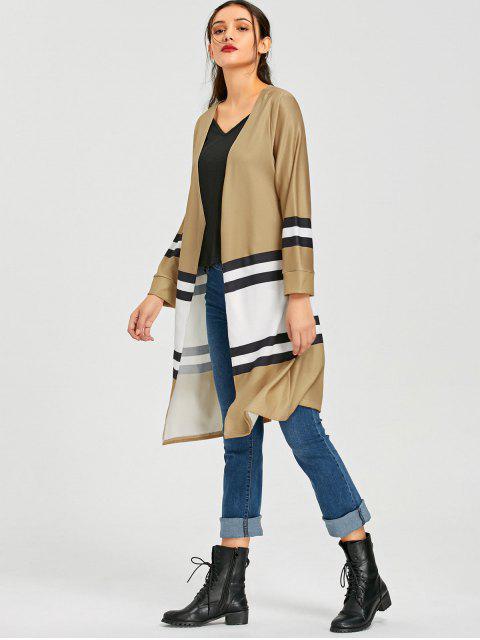 trendy Color Block Open Front Knit Cardigan - KHAKI XL Mobile