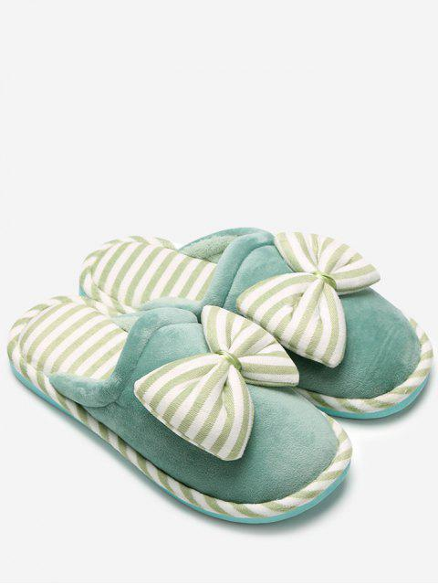 outfit Plush Bowknot Striped House Slippers - GREEN SIZE(40-41) Mobile
