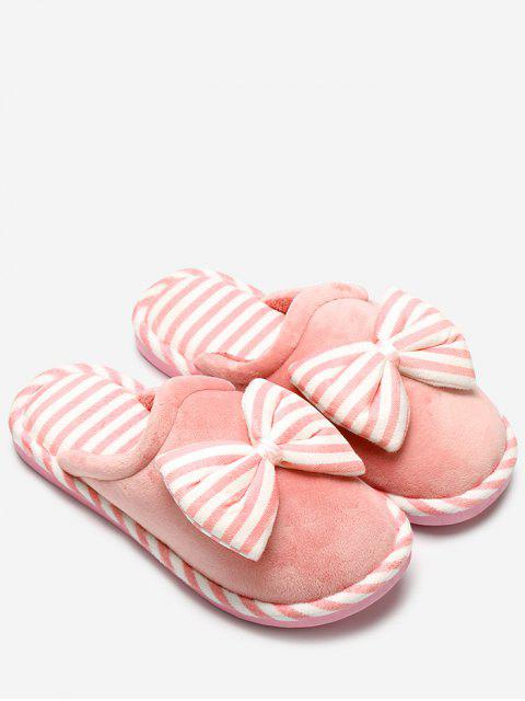 sale Plush Bowknot Striped House Slippers -   Mobile