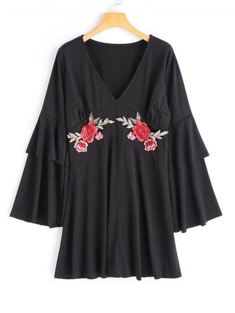 best Flower Applique Bell Sleeve Dress - BLACK L Mobile