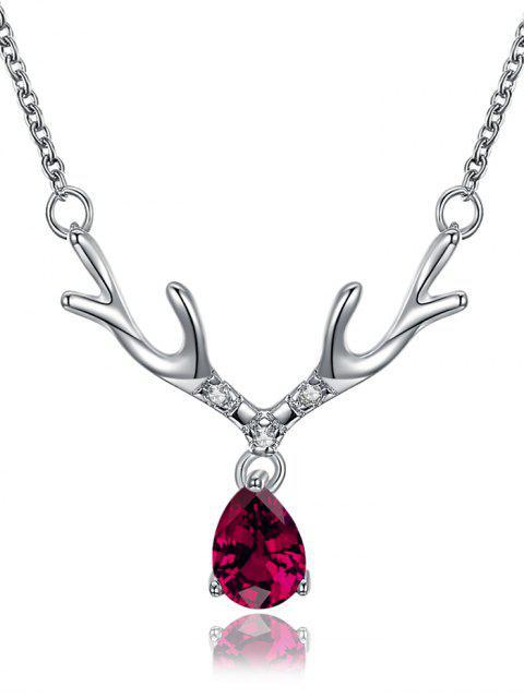 Faux Waterdrop Gem Elk Collier pendentif corne - Argent  Mobile