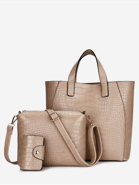 Embossing 3 Stück PU-Leder Handtasche Set - Golden  Mobile