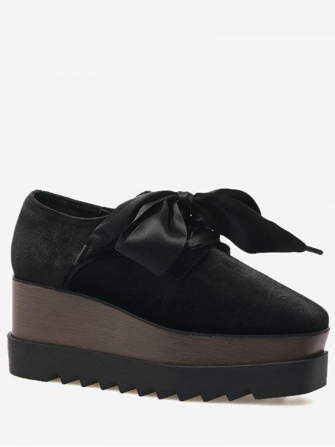 affordable Square Toe Lace Up Wedge Shoes - BLACK 39 Mobile