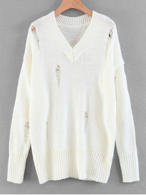 Suéter de cuello en V destruido de gran tamaño - Blanco M Mobile
