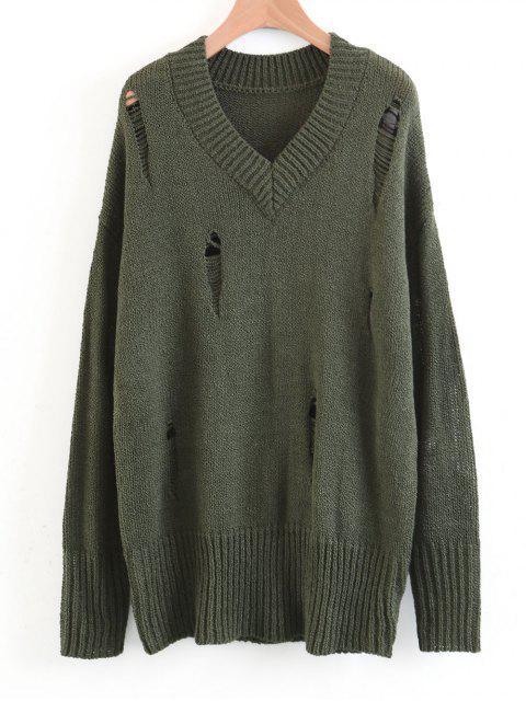 Suéter de cuello en V destruido de gran tamaño - Ejercito Verde M Mobile