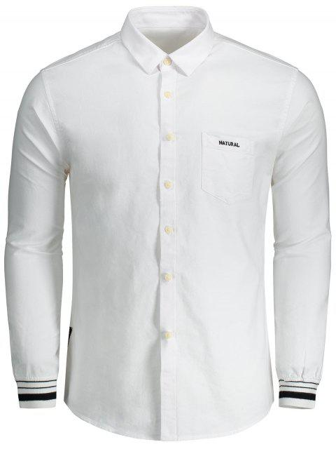 affordable Button Fly Letter Embroidery Shirt - WHITE 3XL Mobile
